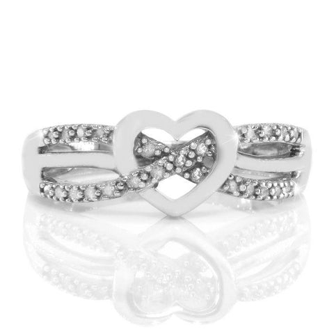 Solid Sterling Silver Diamond Heart Ring»R219