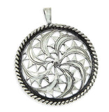 Solid Sterling Silver Cutting Fan Design Pendant»P319