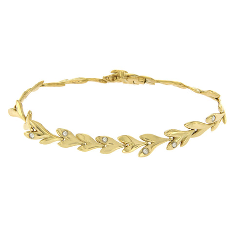 "Auth H STERN 18K Yellow Gold With Rose Cut Diamonds Leaf Bracelet Size 7"" »U27"