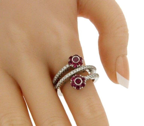 ¦PASQUALE BRUNI Diamond & Tourmaline Flowers Ring Size 7.25  » U117
