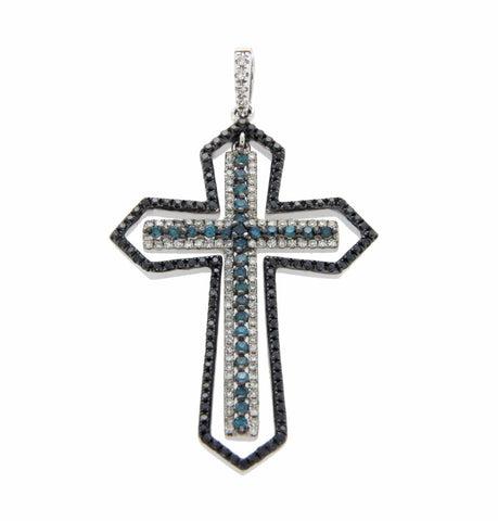 ▌EFFY White Black Green Diamonds 14K White Gold Cross Pendant » N118