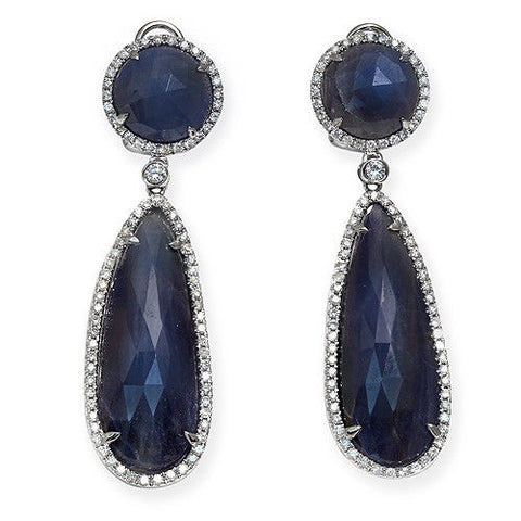 Rose Cut Sliced 33CT Blue Sapphire 1.04 CT Diamonds 14K Gold Drop Earrings »N116