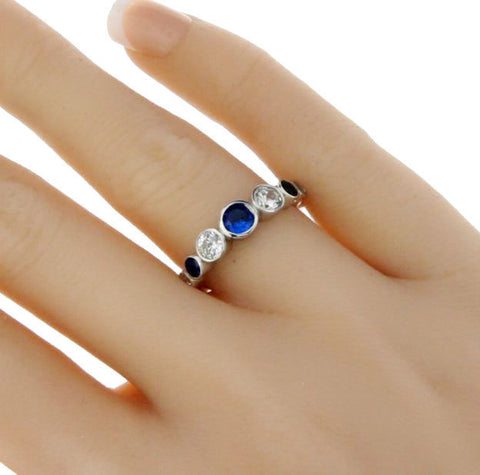 925 Sterling Silver Blue White Bezel CZ Eternity Band Ring Size5,6,7,8,9,10»R102