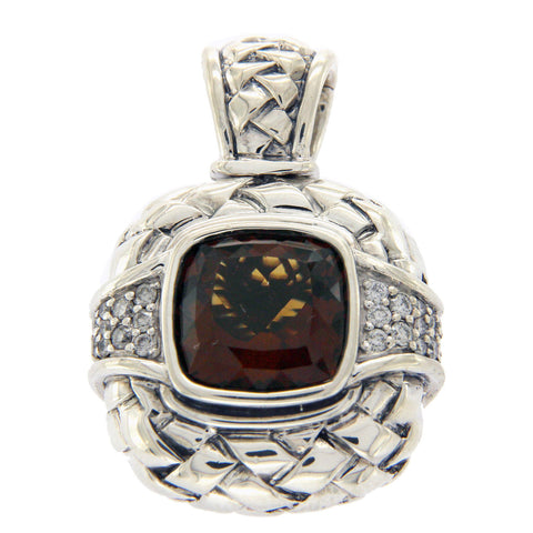 Scott Kay 925 Sterling Silver Smokey Quartz & Diamond Enhancer Pendant » U224
