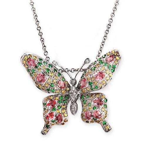 "14K White Gold 0.09 CT Diamonds 2.45 CT Multi Sones Butterfly Necklace 16"" »BL19"