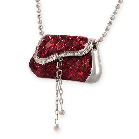 "18K Gold 0.11 CT Diamonds 606 CT Invisible Set Ruby Purse Necklace 18"" »N3127"