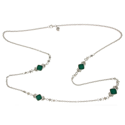 "Stephen Webster 925 Silver Chrysoprase Quartz Crystal 36"" Long Necklace »$1295"