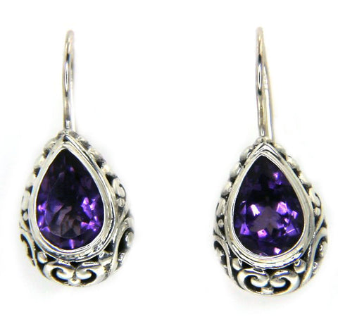 925 Sterling Silver Scroll Swirl Amethyst Earring»E223