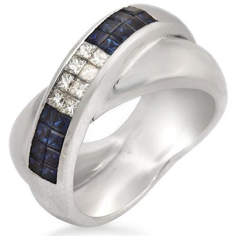 18K Gold Invisible Setting 0.43 CT Diamonds & 0.85 CT Blue Sapphire Ring »BL111