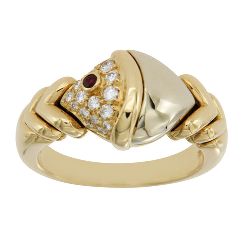 Buglari Bvlgari Naturalia Diamonds & Ruby 18k Two Tone Gold Fish Ring Size 5.75