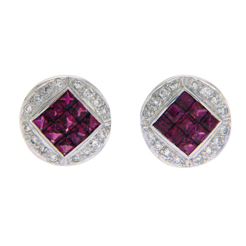 1.10 CT Natural Ruby & 0.20 CT Diamonds in 18K White Gold Stud Earrings