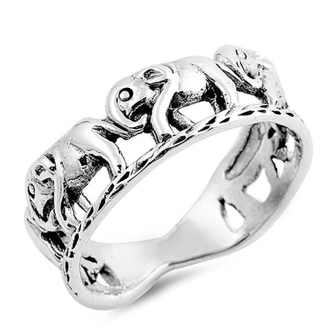 925 Sterling Silver Plain Open Elephant Band Ring Size 6,7,8,9,10 »U84