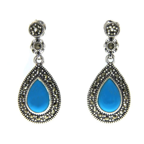 925 Sterling Silver Turquoise Marcasite Tear Drop Dangle Earring » E32