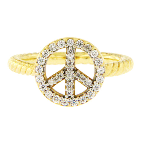 David Yurman 18K Yellow Gold Cable Diamond Peace Sign Ring Size 4.5 »U51