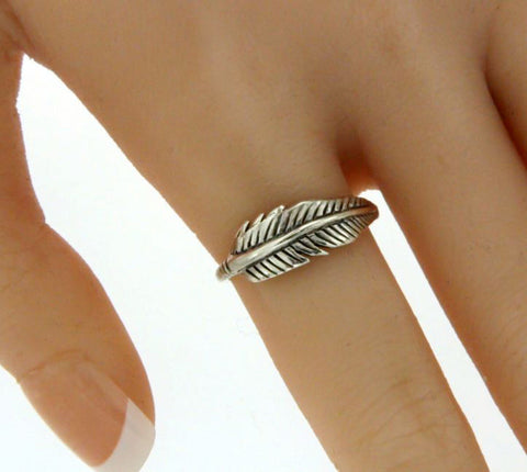 ▌Beautiful 925 Sterling Silver Feather Band Ring Size 4,5,6,7,8,9,10 »R13/3