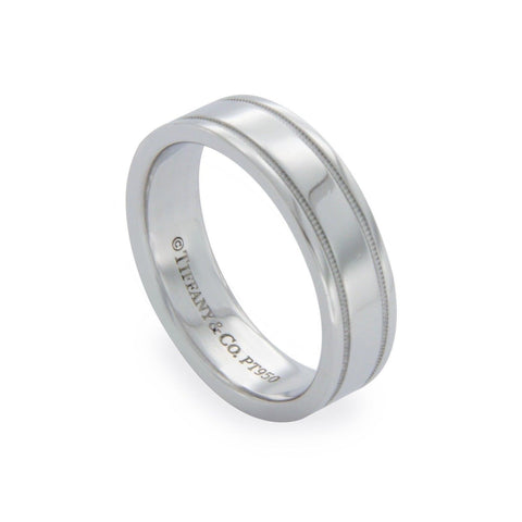 Authentic Tiffany & Co 950 Platinum Wedding Band Ring Size 5 »U316