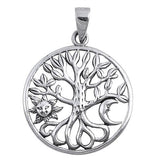 ▌925 Sterling Silver Crescent  Moon Sun & Tree of life Pendant »P73