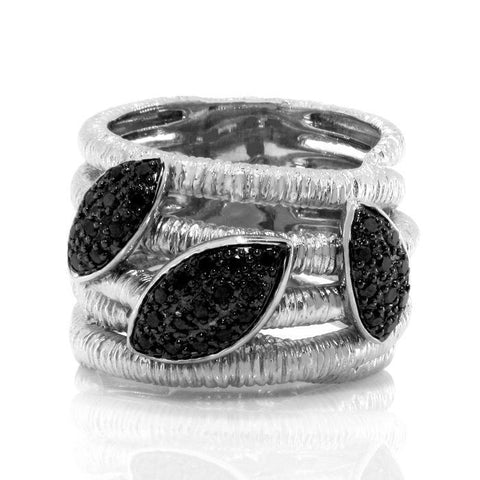 Beautiful Black Diamond Solid Sterling Silver Designer Ring » R228