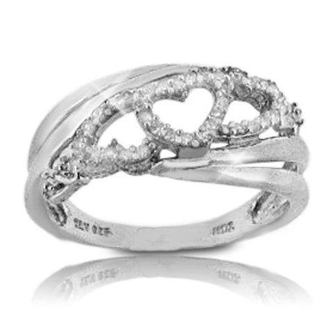 Solid Sterling Silver Diamond Heart Ring»R217