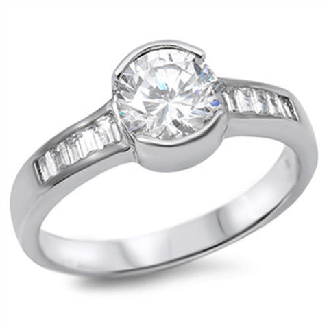 ▌Women's Solid Sterling Silver CZ Bezel Set Engagement Ring Size 5,6,7,8,9 » R36