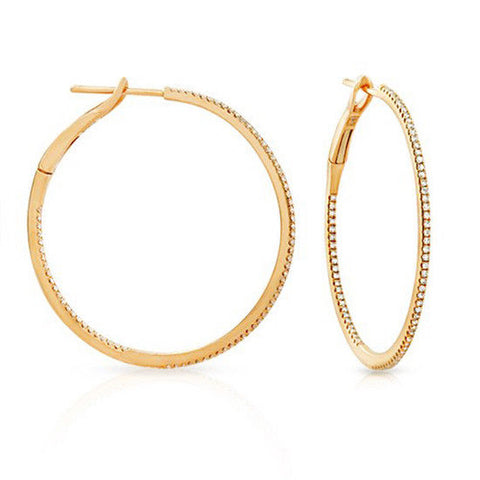 "▌18K Yellow Gold  0.36 CT Front and Back Diamonds 1.25"" Hoop Earrings »N110"