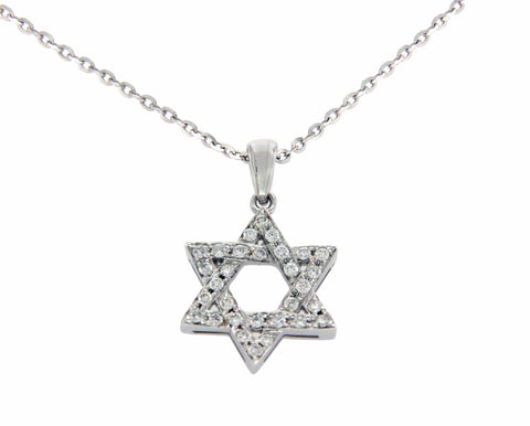 0.26 CT Diamonds 18K Gold Star of David Pendant 14K Gold Chain Necklace Size 18""