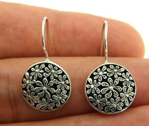 925 Sterling Silver Flower Bali Dangle Earring » E29
