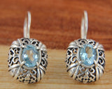 Sterling Silver Blue Topaz Scroll Swirl Earring»E16