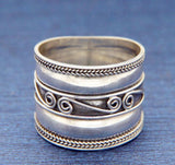 ▌925 Sterling Silver Bali 16 mm Wide Cigar Band Ring Size 6,7,8,9,10,11,12 »R104