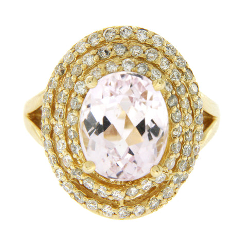4 CT Morganite & 1.25 CT Diamonds in 14K Yellow Gold Cocktail Ring