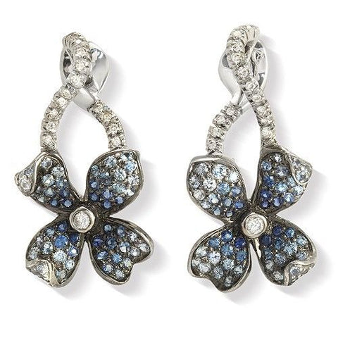 18K Gold Pave 0.19 CT Diamonds & 1.01 CT Blue Sapphire Flower Earring »BL121