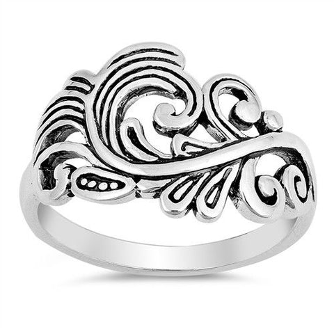 Beautiful 925 Sterling Silver Gothic Wave 14 mm Ring Size 5,6,7.8.9,10 » R410