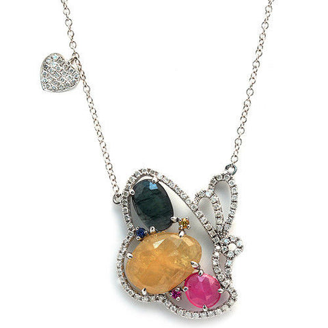 Sliced 6.76 CT Multi Sapphire 0.59 CT Diamonds 14K Gold Butterfly Heart Necklace