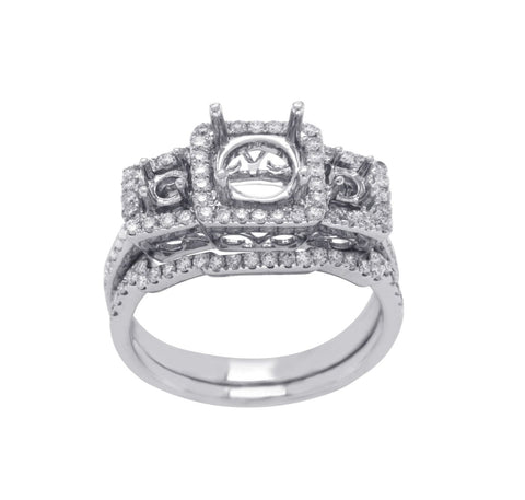 18K White Gold 0.56 CT Diamonds Semi Mount Engagement With Band Ring Size 6»N12