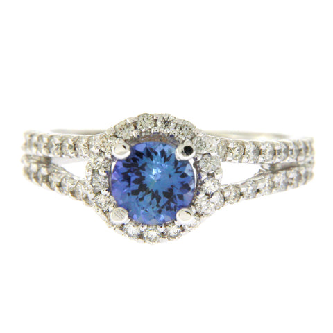 0.80 CT Blue Tanzanite & 0.78 CT Diamonds in 14K White Gold Cocktail Ring