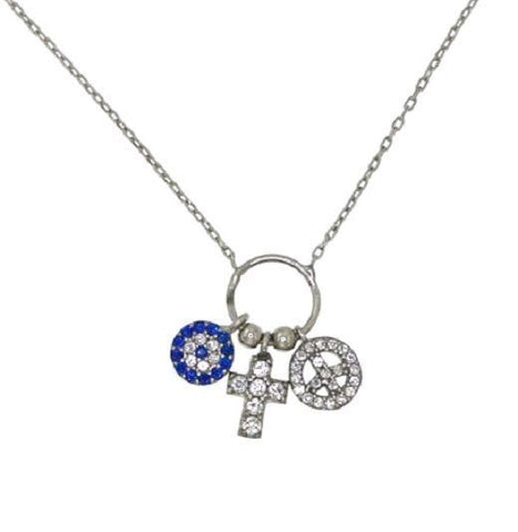 "¦Women's Sterling Silver Peace Evil Eye Cross Pendants Necklace 16"" to 18"" »P521"