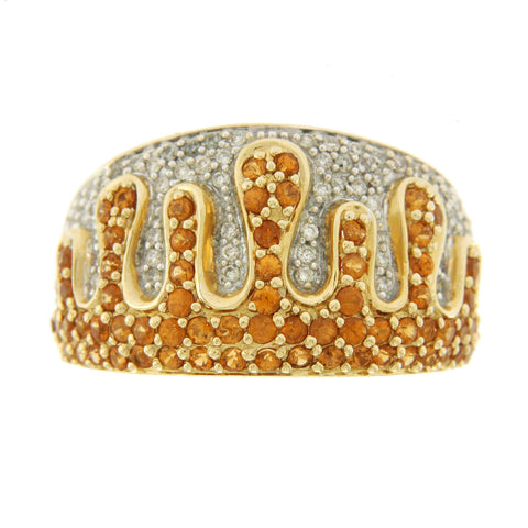 0.79 CT Citrine & 0.65 CT Diamonds in 14K Yellow Gold Fire Crown Band Ring