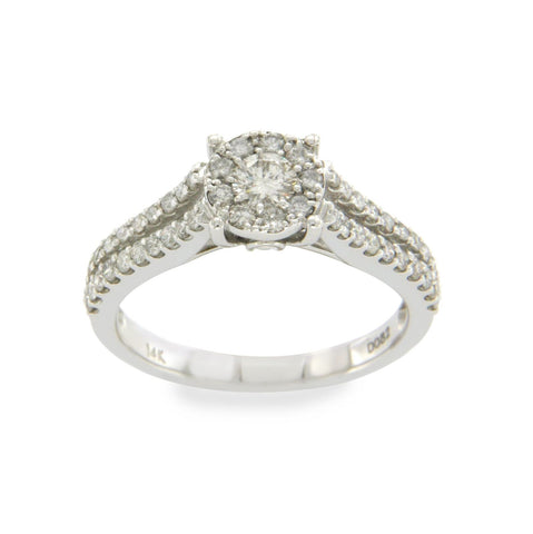 14K White Gold 0.82 CT Diamonds Engagement Ring Size 7 »N24