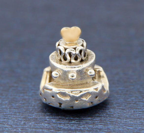 ¦AUTHENTIC PANDORA 14K Gold Silver Celebration Cake Bead » U415