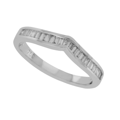 18K White Gold 0.36 CT Baguette Diamonds Chevron Wedding Band Ring Size 6.5 »N13
