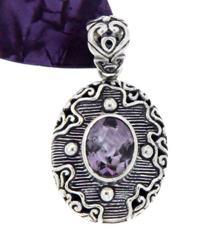 ¦Solid Sterling Silver Bali Bezel Set Amethyst Pendant»P416 ANTIQUE DESIGN!