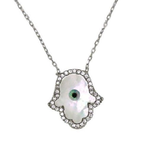 ▌925 Sterling Silver Mother of Pearl Evil Eye Hamsa Hand of God Necklace » P523