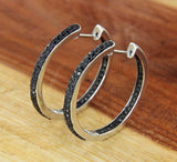 925 sterling Silver All Around Inside Black 0.75 CT Diamond Hoop Earring»E221