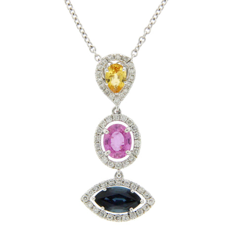 3.12 CT Natural Multi Stones & 0.55 CT Diamonds in 14K Gold Drop Necklace 16""