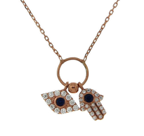 "¦Women's 925 Sterling Silver Evil Eye Hamsa Charms Necklace 16"" to 18"" »P65"