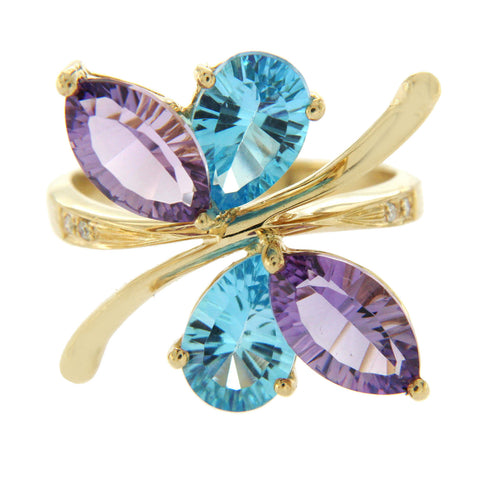 0.60 CT Amethyst & 0.54 CT Blue Topaz Diamonds in 14K Yellow Gold Butterfly Ring