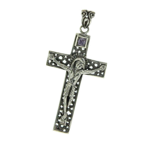 ¦925 Sterling Silver Amethyst Jesus Christ Crucifix Cross Pendant »P34