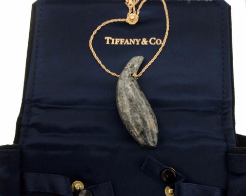 "¦Authentic Tiffany & Co FRANK GEHRY 18K Gold Jade Fish Necklace Size 18"" »U"