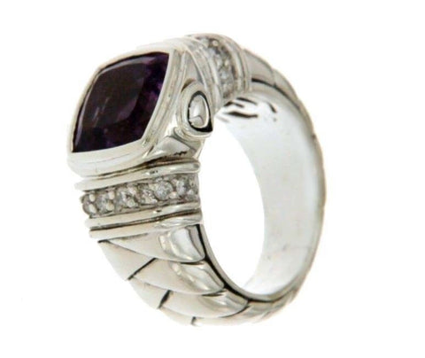 ¦Scott Kay Sterling Silver 925 Diamonds Amethyst Ladies Ring Size 6.75 »U416
