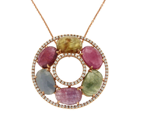 "Multicolor Stones 0.60 CT Diamond 14K Gold Circle Of Life Necklace Size16""»N115"